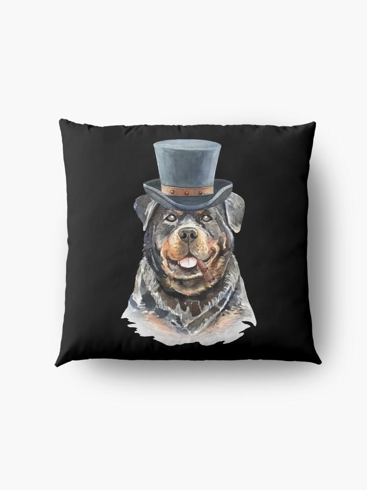 Alternate view of Watercolor  Rottweiler Top Hat Floor Pillow