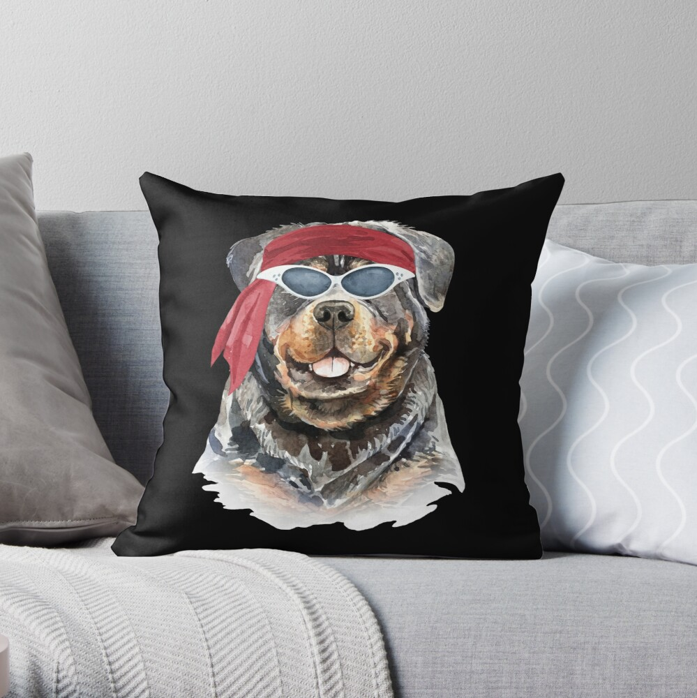 Watercolor  Rottweiler shades,gym,exercise, Throw Pillow
