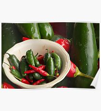Fresh Hot Peppers Poster