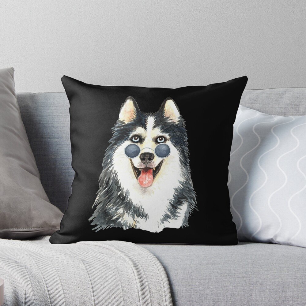 Watercolor  Siberian Husky Cool Biker Throw Pillow