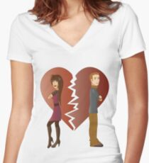 Couple with broken heart  Women's Fitted V-Neck T-Shirt