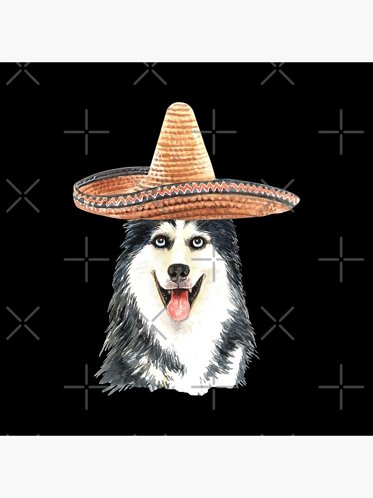 Watercolor  Siberian Husky Mexican Sombrero Hat by dog-gifts