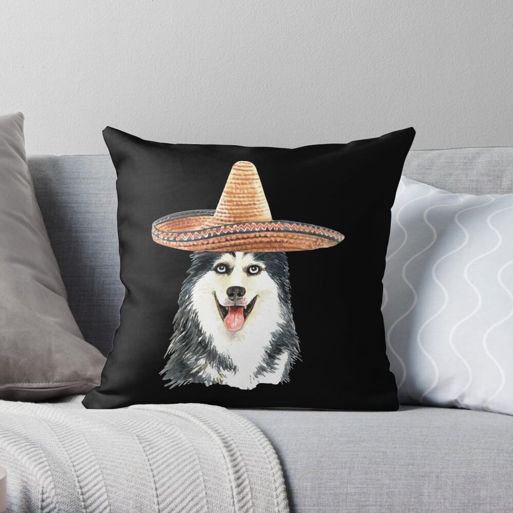 Watercolor  Siberian Husky Mexican Sombrero Hat Throw Pillow