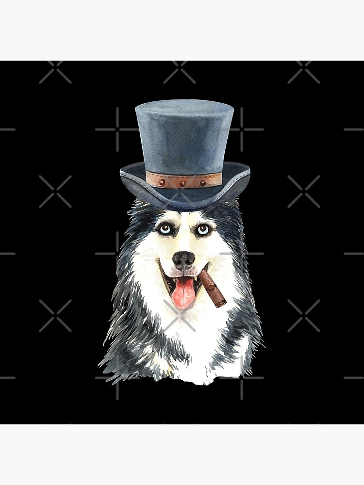 Watercolor  Siberian Husky Top Hat by dog-gifts
