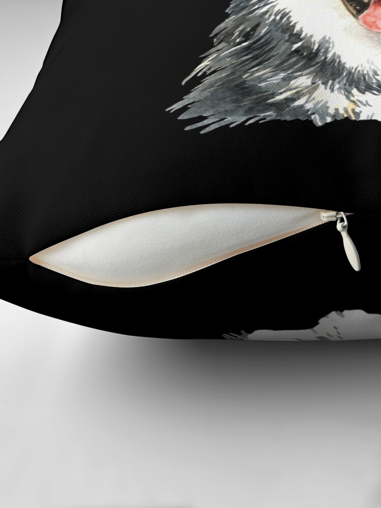Alternate view of Watercolor  Siberian Husky Top Hat Throw Pillow