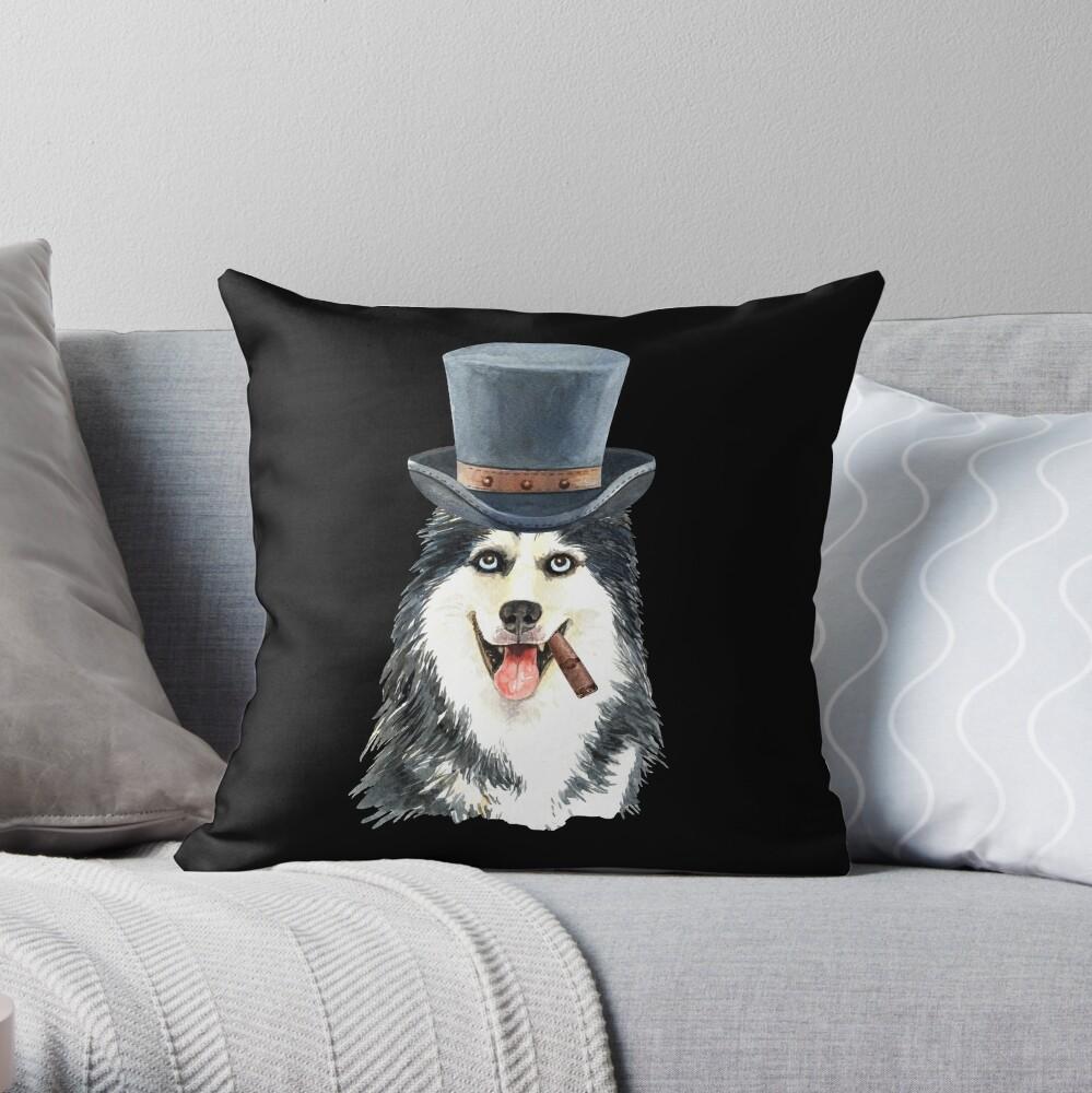 Watercolor  Siberian Husky Top Hat Throw Pillow