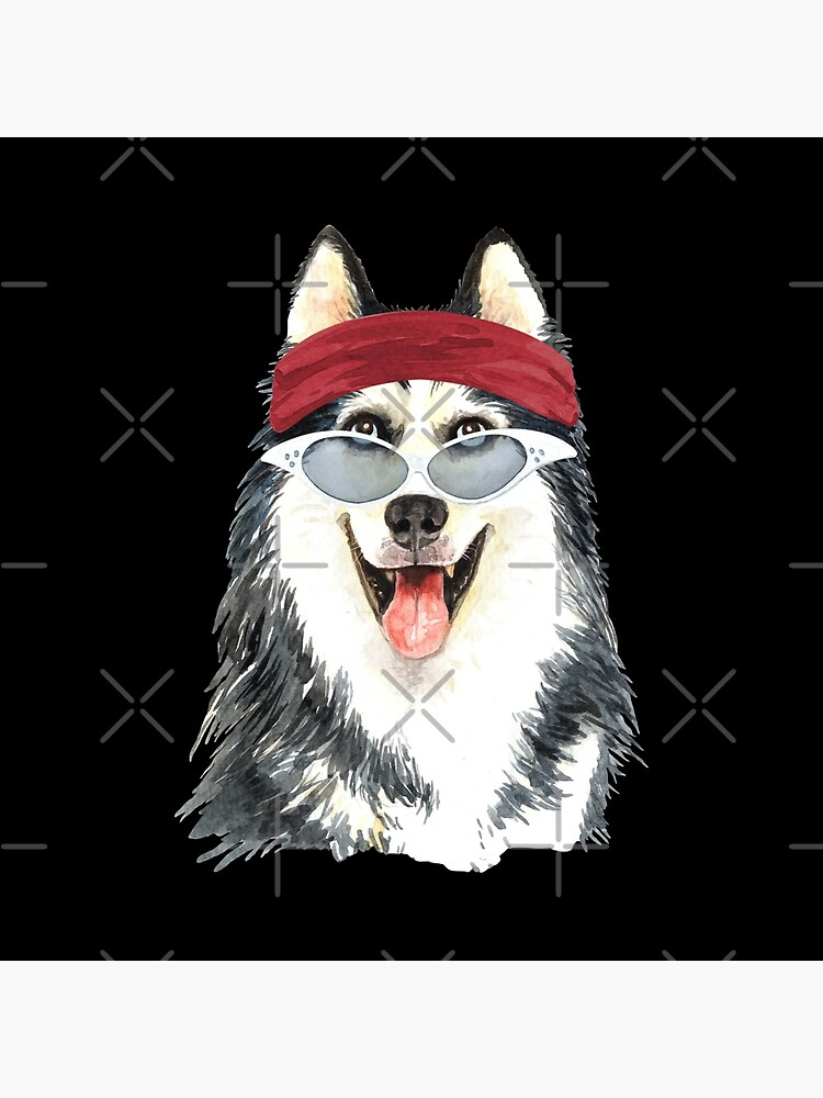 Watercolor  Siberian Husky shades,gym,exercise, by dog-gifts