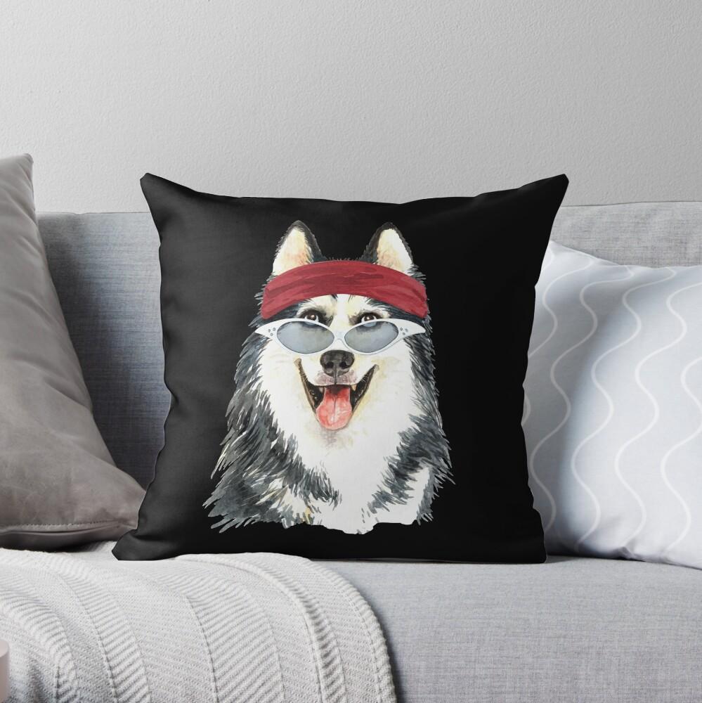 Watercolor  Siberian Husky shades,gym,exercise, Throw Pillow