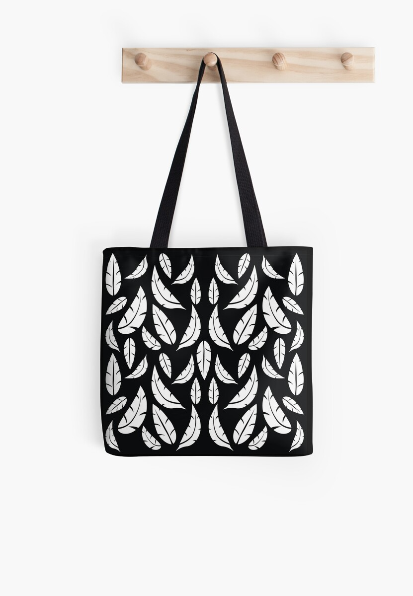 White on Black Modern Boho Tribal Graphic Feather Pattern by HotHibiscus