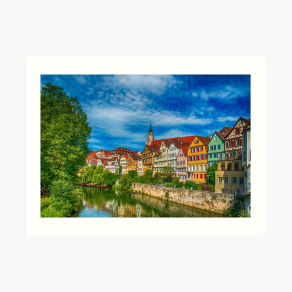 Tübingen - Picture Postcard View from the Neckar Bridge 3 Art Print