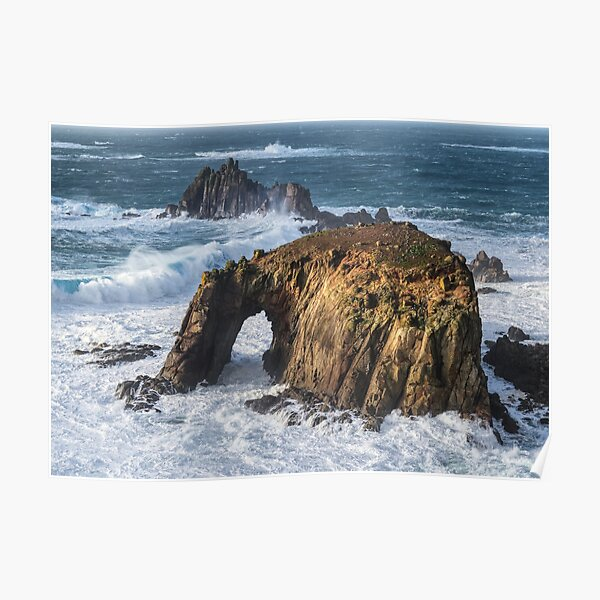 Enys Dodnan Arch and The Armed Knight at Lands End, Cornwall Poster