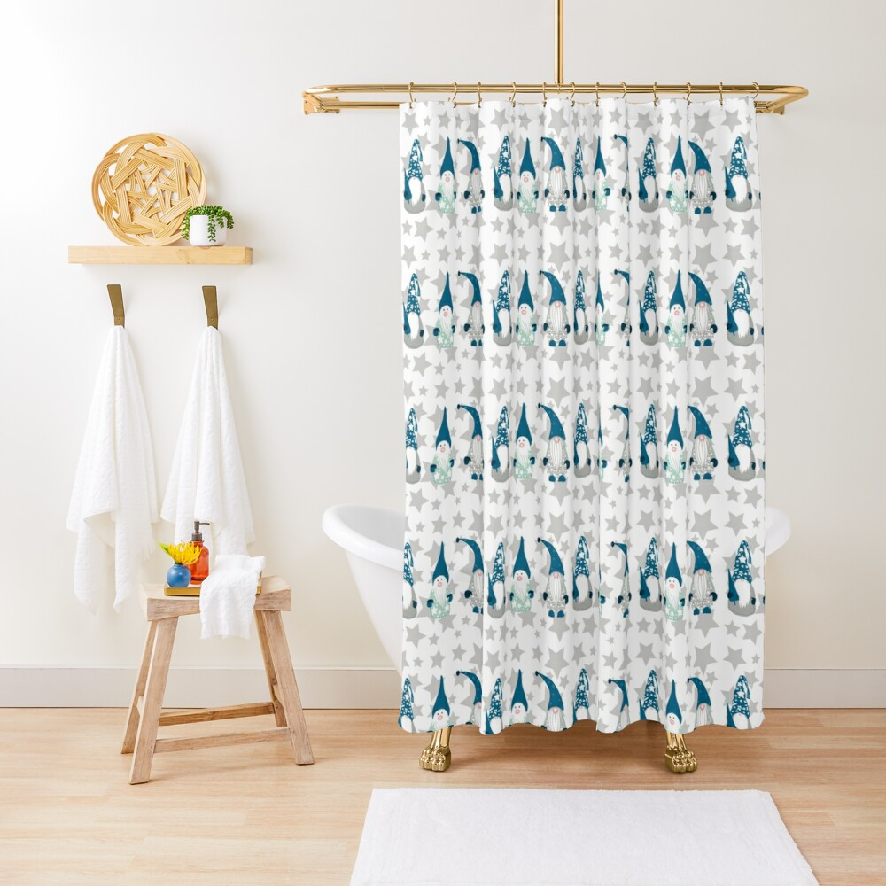 Trio of Gnomes with stars Shower Curtain