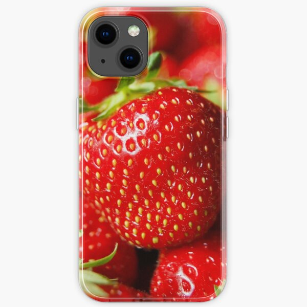 Bright Red Close up Strawberry Highly Detailed Image Blured Background Macro iPhone Soft Case