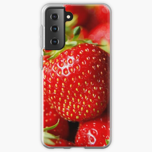 Bright Red Close up Strawberry Highly Detailed Image Blured Background Macro Samsung Galaxy Soft Case