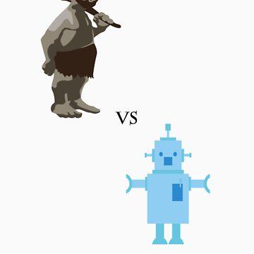 Caveman vs Robot by 09King