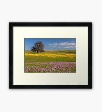 Wildflowers And Oak Tree - Spring In Central California Framed Print