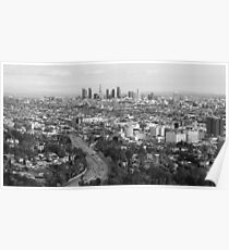 Los Angeles Basin And Los Angeles Skyline Panorama Monochrome Poster