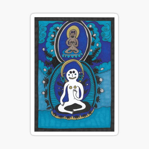 Meditating With Silver Fruits Sticker