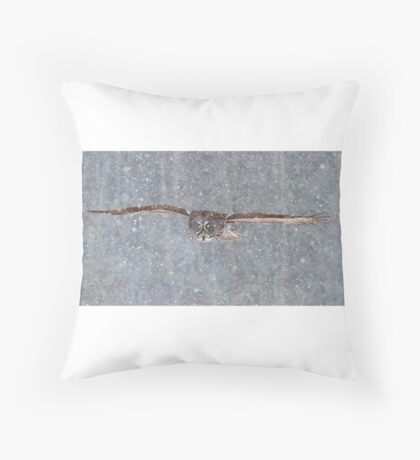 Snowfall - Great Grey Owl Throw Pillow