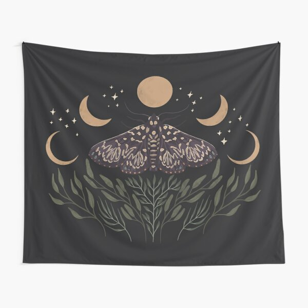 Moon, Moth, and Botanical Design Tapestry