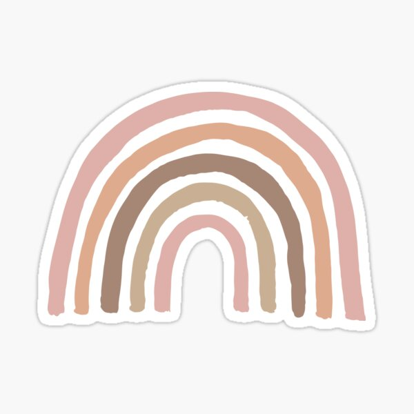 Aesthetic Boho Shades of Pink, Rose Gold & Brown Neutral Bohemian Rainbow Sticker