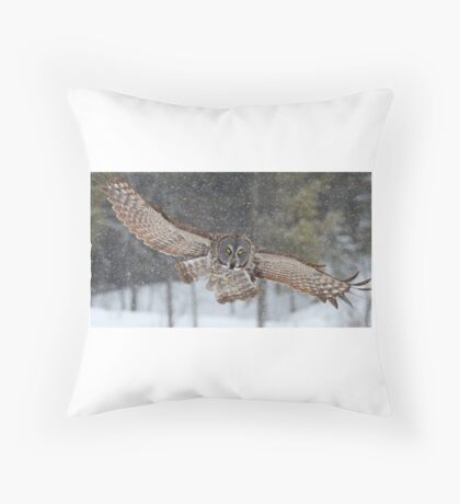 Duck! - Great Grey Owl Throw Pillow