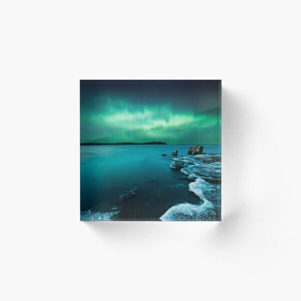 Ice on the lake shore and northern lights landscape Acrylic Block