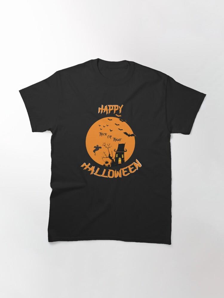 Alternate view of Haunted House Ghost Bat Trick Treat Gravestone RIP. Classic T-Shirt