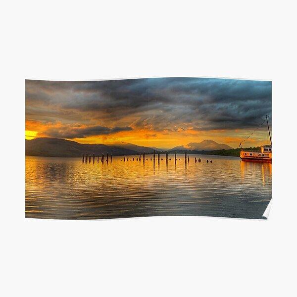 Sun Setting on Loch Lomond, Scotland Poster