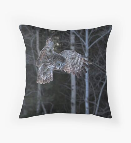 Hover - Great Grey Owl Throw Pillow