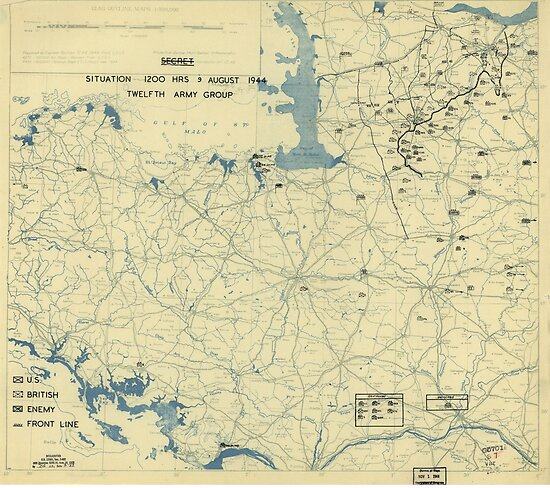 August 9 1944 World War II HQ Twelfth Army Group situation map by allhistory