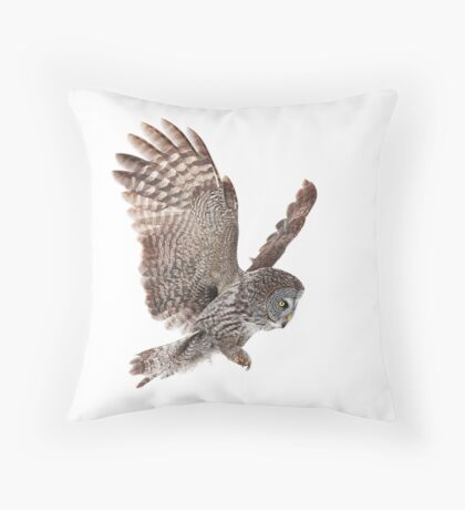 Incoming - Great Grey Owl Throw Pillow