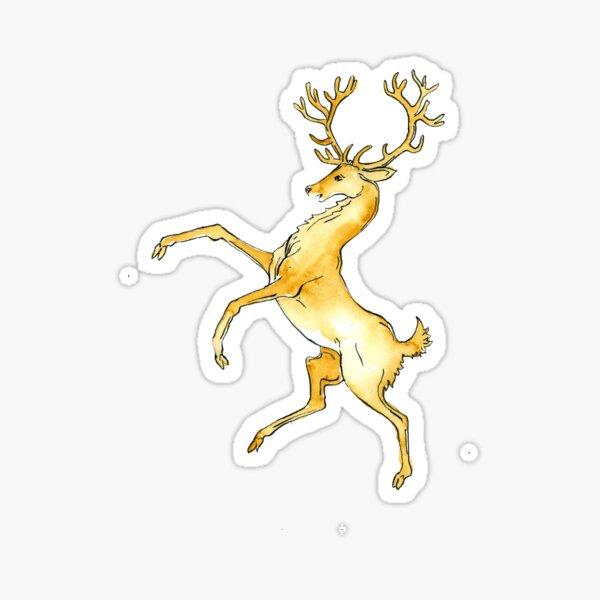 Rampant Gold Stag Sticker