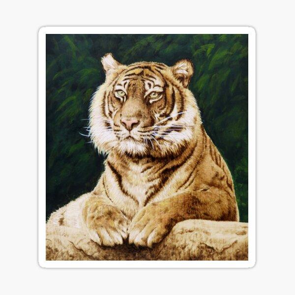 Tiger woodburning by Minisa Robinson Sticker