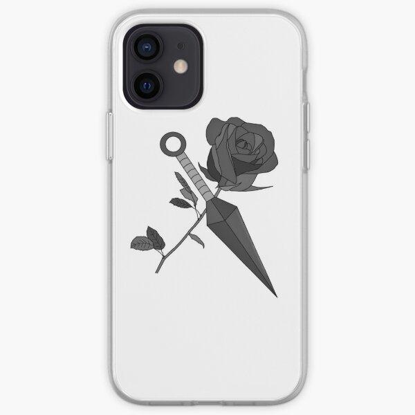 rose et kunai sombre Coque souple iPhone