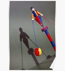 Vintage Clown Acrobat Circus Doll Toy Poster