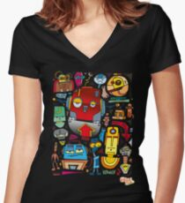 CRAZY DOODLE Women's Fitted V-Neck T-Shirt