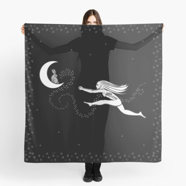 Rabbit in the Moon - starry border Scarf