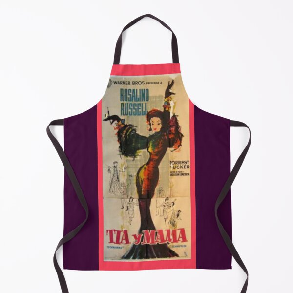 Auntie Mame, Rossalind Russell, Vintage, Spanish film poster, Tia y Mama Apron