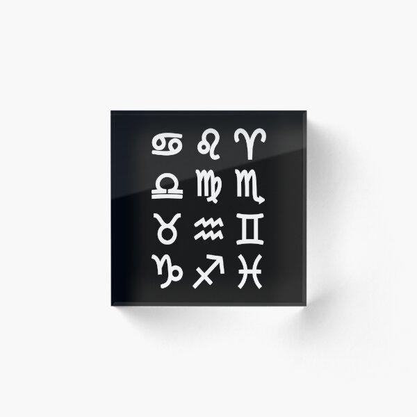 Zodiac Symbols - Astrology, Astronomy Acrylic Block