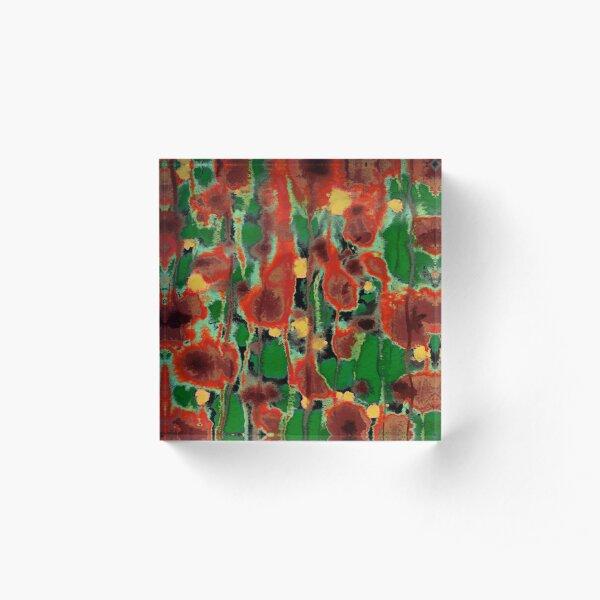 Acuarela abstracta roja y verde Bloque acrílico