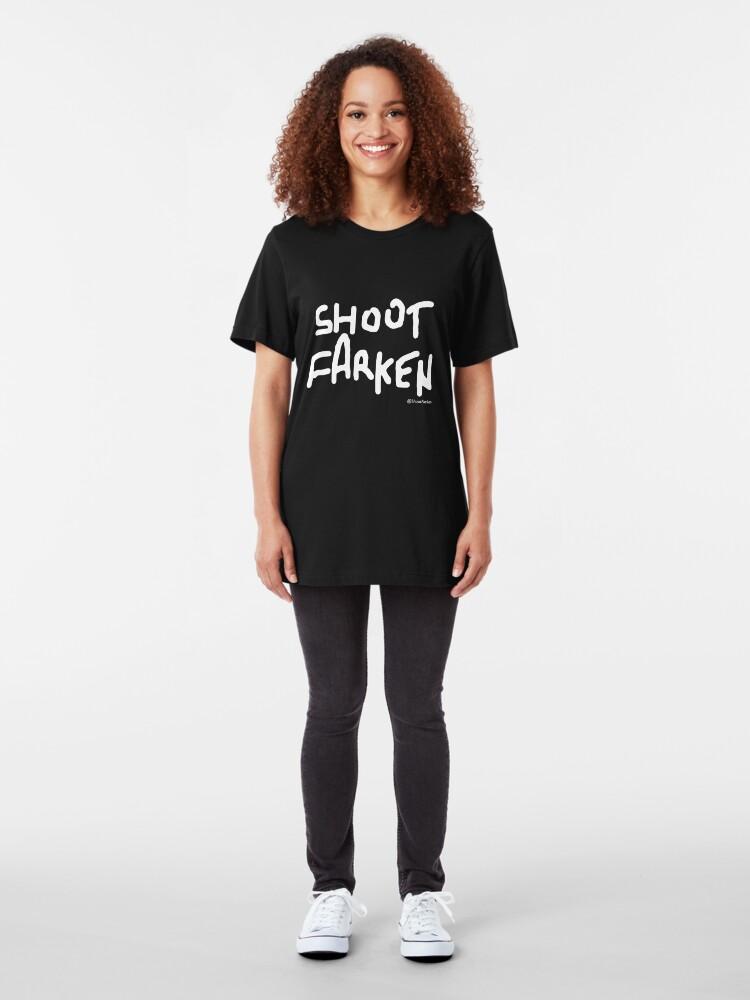 Alternate view of Shoot Farken White Logo Slim Fit T-Shirt