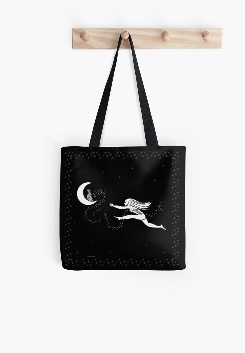 Rabbit in the Moon - starry border by Akire Bubar