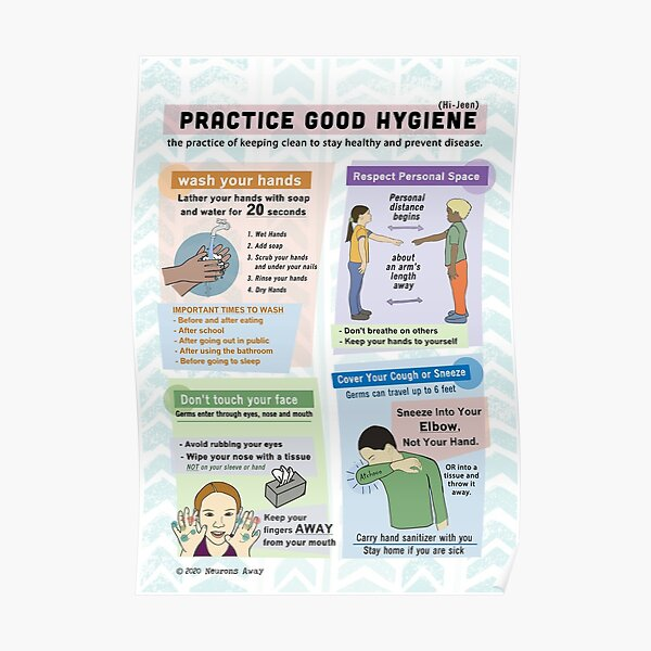 Kids Hygiene Poster - Covid Health Poster Poster