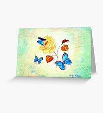 Morph Butterflies on Yellow Rose Greeting Card