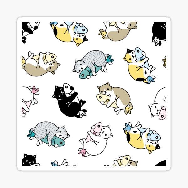 Cat kitten fish hug  Sticker