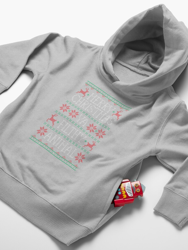 Alternate view of Merry Christmas Ya Filthy Animal Toddler Pullover Hoodie