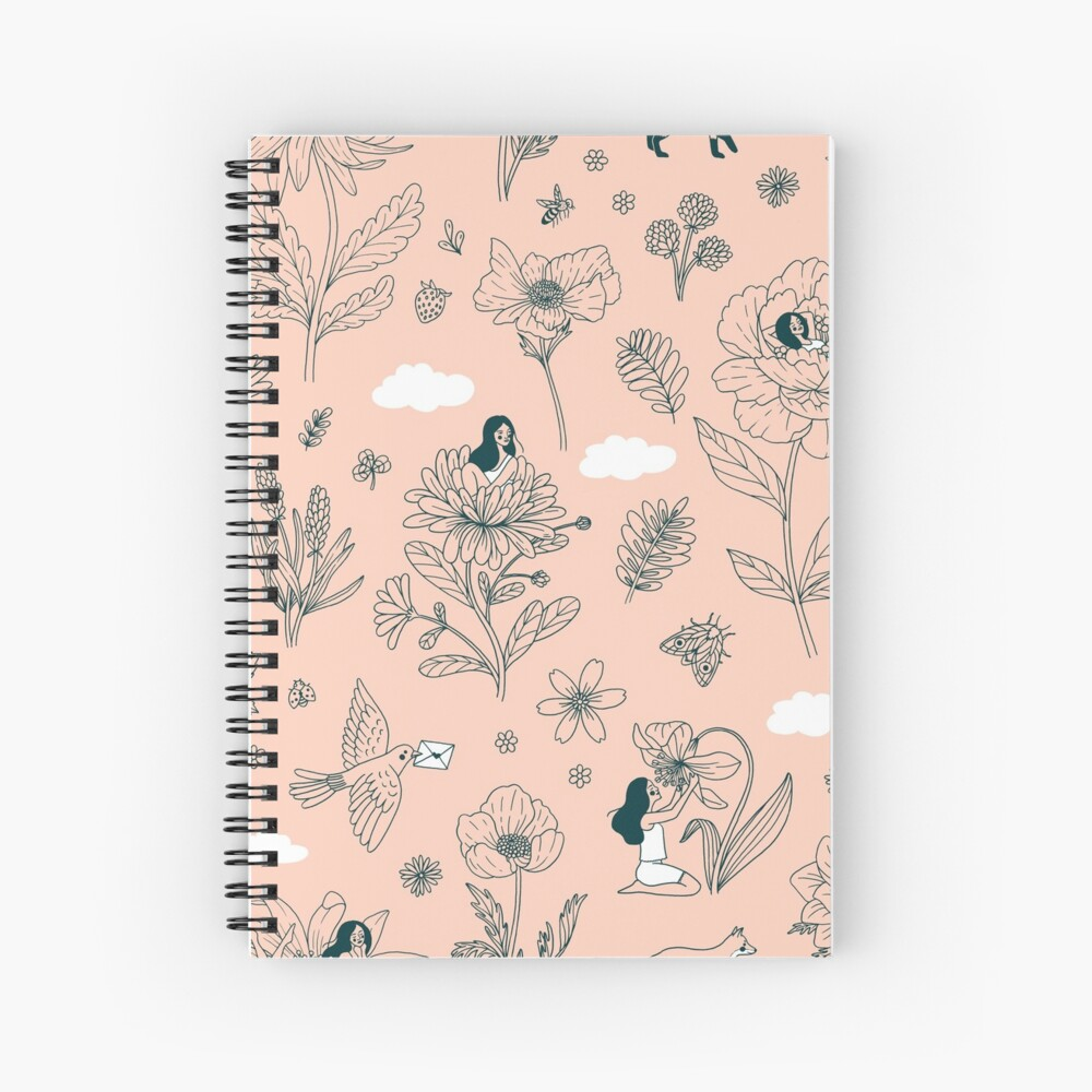 Girls and Flowers Spiral Notebook