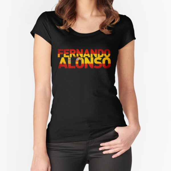 Diseño de bandera y nombre en español para los que apoyan a los conductores de Fórmula 1 en España Camiseta entallada de cuello ancho