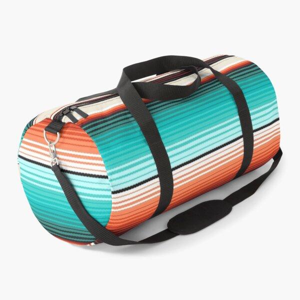Navajo White, Turquoise and Burnt Orange Southwest Serape Blanket Stripes Duffle Bag